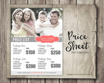 Price Sheet Template - Photography Price List - Marketing - Photoshop Template Photography Packages - INSTANT DOWNLOAD