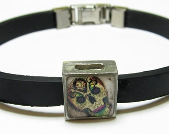 Day Of The Dead Sugar Skull Link With Choice Of Colored Band Charm Bracelet