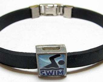 Sport Swim Link With Choice Of Colored Band Charm Bracelet