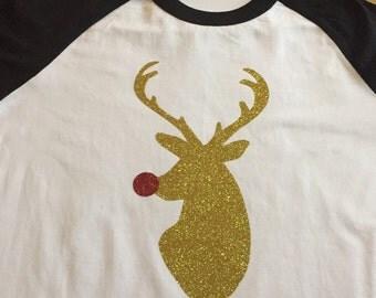 Christmas Baseball Shirt, Reindeer Shirt
