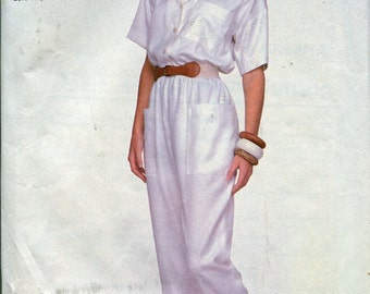 1980s Jumpsuit Pattern Simplicity Sewing Patterns 8585 Womens Jumpsuits Size 14-20 uncut