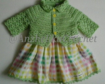 Baby Shell Sweater / Baby Crochet Sweater / Green Baby Sweater