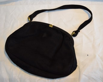 Women's vintage 1940s black suede satin lined handbag purse with gold tone clasp