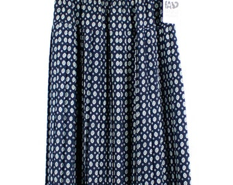 Vintage 80s 90s Navy and White Print Pleated Skirt