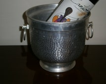 SALE Ice Bucket Aluminum MCM Insulated Wine Cooler Holder Hand Hammered Footed Italy