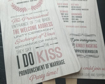 Rustic Wedding Program Fans; multiple designs available