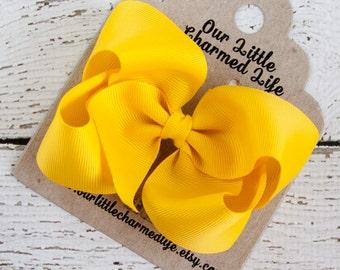 Yellow Hair Bow, Yellow Hairbow, Yellow Hair Clip, Boutique Hair Bow, Girls Hair Bow, Bows for Babies, Summer Hair Bow, School Hair Bow