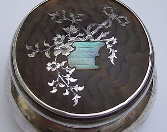 ANTIQUE SILVER JAR with Tortoiseshell and Pique Silver / Mother-of-Pearl Lid