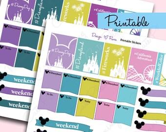 Disneyland Printable planner stickers /  disney day planning/ disney fun day