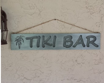Tiki Bar Sign beach art beach decor wood sign drift wood rustic wall art ocean and beach living 5.5x30x.75