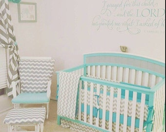 TODAY ONLY***Grey Chevron and Solid color crib bedding