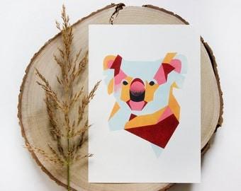 Koala bear Geometric Illustration Print on a4 & a3 size