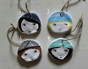 Hanging Hatties. Girl Faces, Winter Knits. 4 styles. Hand drawn and unique.
