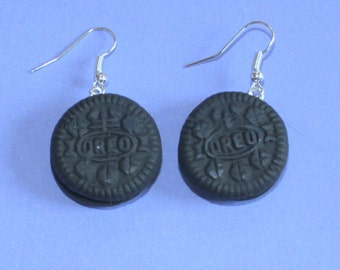 Oreo Biscuit Silver Earrings,Dangly Earrings,Fimo Charm,Fimo Earrings,Silver Earrings,Silver Jewellery,Biscuit Earrings,Food Earrings.