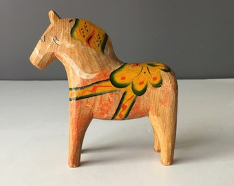 Vintage Swedish Dala Horse, Older Style, Scandinavian Souvenir Wood Painted Horse