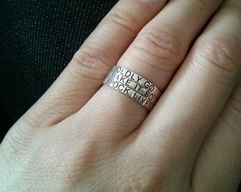 Stacking rings, stackable ring, Mother's ring, custom engraving and personalized sterling silver w/ blackened engraving. Perfect gift rings