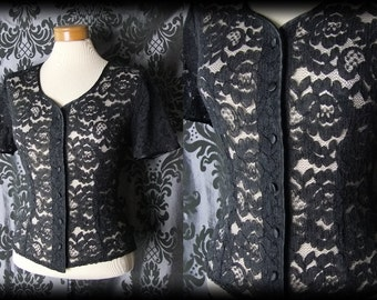 Gothic Black Sheer Lace ARISTOCRATIC Fitted Blouse 12 14 Victorian Vintage 40s