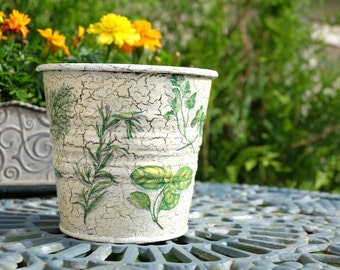Tin flower pot: HERBS