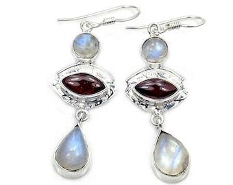 Rainbow Moonstone, Garnet & Sterling Silver Dangle Earrings ; AA869