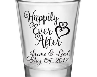 "50x ""Happily Ever After"" Custom Shot Glasses"