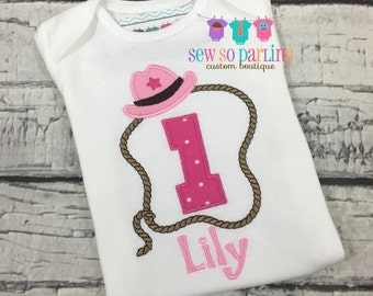 Cowgirl birthday shirt - 1st birthday cowgirl outfit - cow girl birthday outfit - girl Rodeo birthday shirt - Pink cowgirl birthday outfit