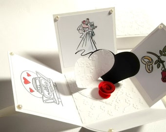 Wedding exploding box card, explosion box, greeting card, special event