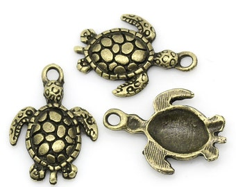 5 Antiqued Bronze Tortoise/Turtle Charms