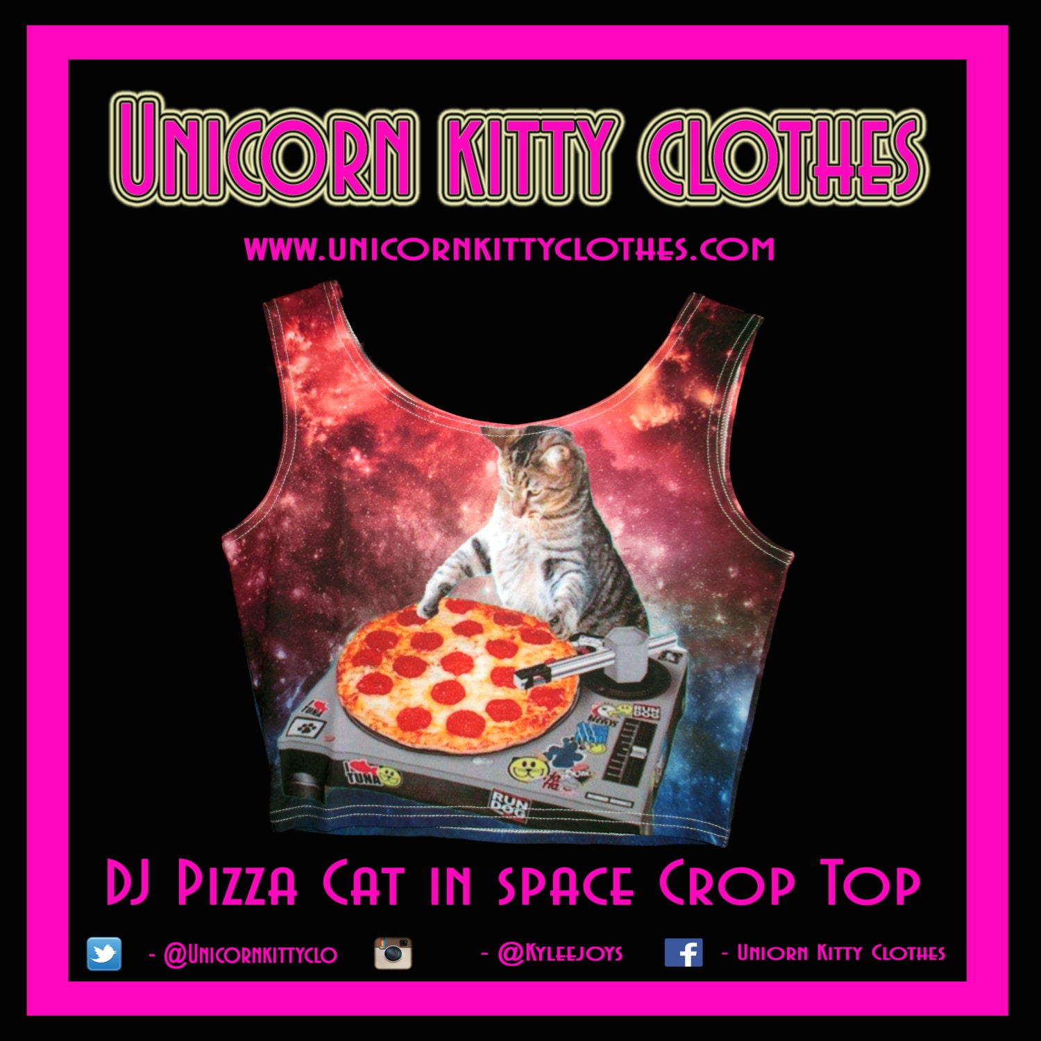 Dj pizza cat in space crop top for Space pizza fabric