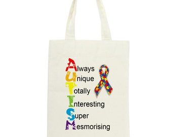 Long Handled Tote Bag Supporting Autism