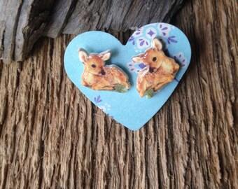 Baby deer earrings: fawn in wildflowers post earrings