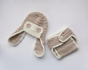 Crochet Newborn Outfit - Baby Boy Aviator Hat and Diaper Cover Crochet Outfit  -Newborn Baby Boy