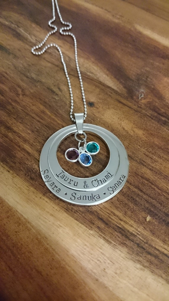 Hand stamped 2 tier Necklace with swarovski birthstones. Personalized