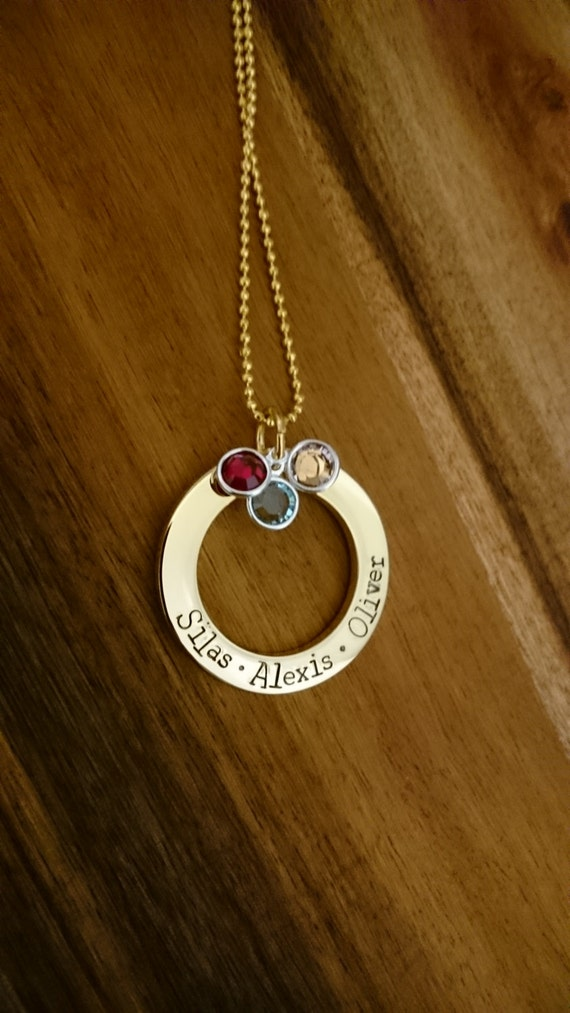 Hand Stamped Necklace with Swarovski Crystal Birthstones- Gold Stainless Steel