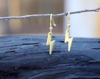 Gift For Her. Tiny Lightning Bolt Earrings. Lightning Bolt Earrings. Bolt Lightning Earrings