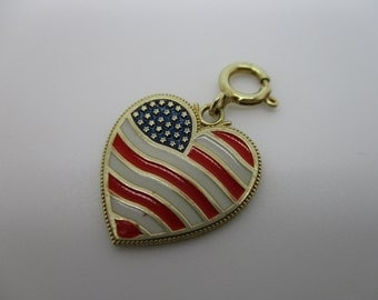 14K Yellow Gold Red, White, and Blue Enamel American Flag Heart GOD BLESS AMERICA Charm
