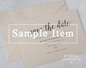 "Rustic Save the Date SAMPLE - ""Mia"" 