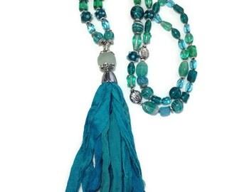 Blue Sari Silk Tassel Beaded Necklace, Blue Glass Jewelry, Boho Jewellery, Beach Jewelry, Tassel Necklace, Beaded Jewelry, OOAK Necklace