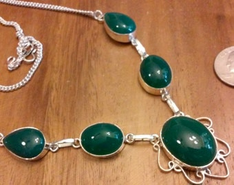 Emerald CHALCEDONY and sterling silver necklace rough cut