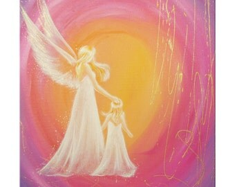 """Angel print on canvas in 16x16 or 16x24 inches: """"Always at your side""""- digital print streched, Abstract canvas art, modern Wall hanging"""