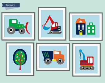 Baby Boy Nursery Art, Truck Prints, Construction Decor, Toddler Boy Bedroom, Digger, Truck, Crane, Truck Bedroom, Boys Nursery