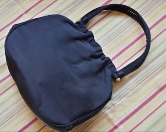 Vintage Empress Black Faille Handbag 1940s  D703