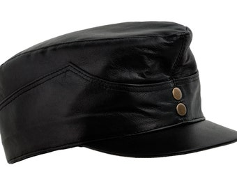 Austro-Hungarian Army Soldier Schweik Cap / Field Cap made of genuine leather - black