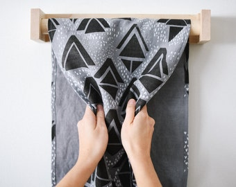 Linen Roller Towel - Screenprinted with Geometric Triangle Pattern - Grey and White on Steel - Modern Bathroom Decor