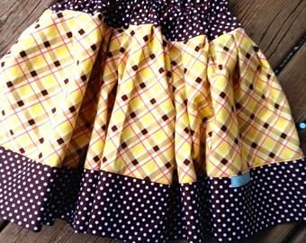 Plaid Twirly Skirt -- OOAK Medium(5-6)