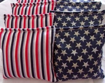 8 ACA Regulation Cornhole Bags - Patriotic Vintage Stars and Red White Blue Stripes