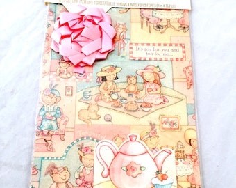 Tea Party Gift Wrap,  Little Girls Wrapping Paper, Teapot Gift Card, Birthday Party Wrapping Paper, Vintage Wrapping Paper,  Picnic Pink Bow