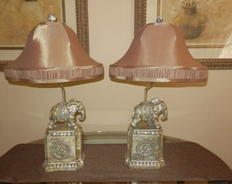 One Pair of Elephant Lamps with Silk Lined Shades