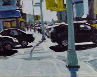 Original Oil Painting, Brooklyn, Cityscape, Street Scene, by Robert Lafond