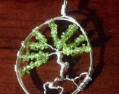 RESERVED  Peridot and Sterling Silver Tree of Life Pendant