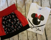 Disney pirate themed shirt and skirt set.
